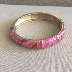 Enameled Animal Print Hinged Bracelet